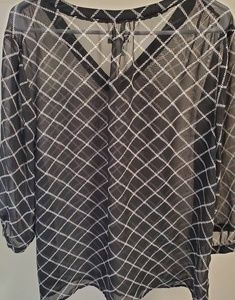 Old Navy Tops - Sheer black and white blouse